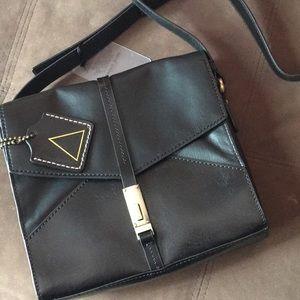Black over shoulder leather purse